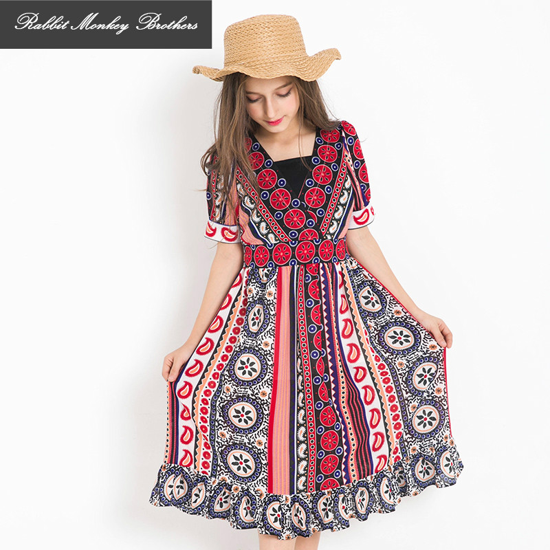 RMBkids Teen Girls Bohemian Beach Dress Girls Chiffon Seaside Vacation Summer Sundress Childrens Floral Dress<br>