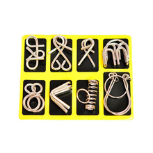 8PCS/Set Metal Wire Puzzle IQ Mind Brain Teaser Puzzles Game Adults Children Kids birthday gift  magic trick