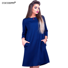 COCOEPPS 2017 Plus Size XL-6XL Summer Office Dresses With pocket Large Big Size Office Solid clothing Women Party Dress Vestidos(China)