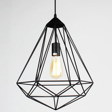 Vintage Diamonds shape industrial pendant lamp,4 kinds iron cage lampshade chandelier retaurant cafe hanging lighting fixtures(China)