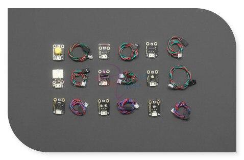 DFRobot 100% Genuine 9 Pcs Sensor Set, 5V JST ph2.0-3p hardware interface for Arduino with Analog/Digital sensor cable<br>