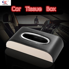 Universal Luxury Style PU Leather Car Tissue Box Boxes Serviette Papier Holder Fit For Bmw Volvo Audi Ford Kia Opel Accessories(China)
