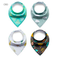 Baby Bibs Boys Girls Burp Cloths Newborn Baby Cartoon Print Bandana Bibs Dribble Bibs Warm Bibs Cotton Unisex Fashion Scarf 4pcs(China)