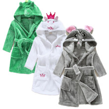 Baby Girls Bathrobe Sleep Clothes Winter Children Pajamas Set Clothes Kids Baby Winter Girls Infant Cartoon Flannel Robes(China)