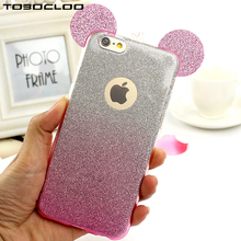 TOBOCLOO Fashion Ears 3D Case For iPhone 6 6S 7 Plus 5 5S 4 4S SE Bling Bling Shine Cute Soft TPU Phone Back Case Cover