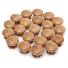 MTGATHER 20pcs/Pack Natural Wooden Cabinet Drawer Wardrobe Door Knob Pull Handle Hardware Plain Circle Handles Best Price(China)