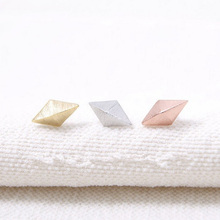 Simple Designed Gold Silver Pink Gold Rhombus Studs Earrings for Women Free International Shipping