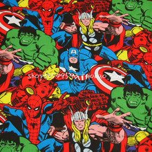 90X100cm Marvel Super Hero The Avengers Cotton Fabric for Baby Boy Clothes Sewing Hometextile Patchwork DIY-AFCK234