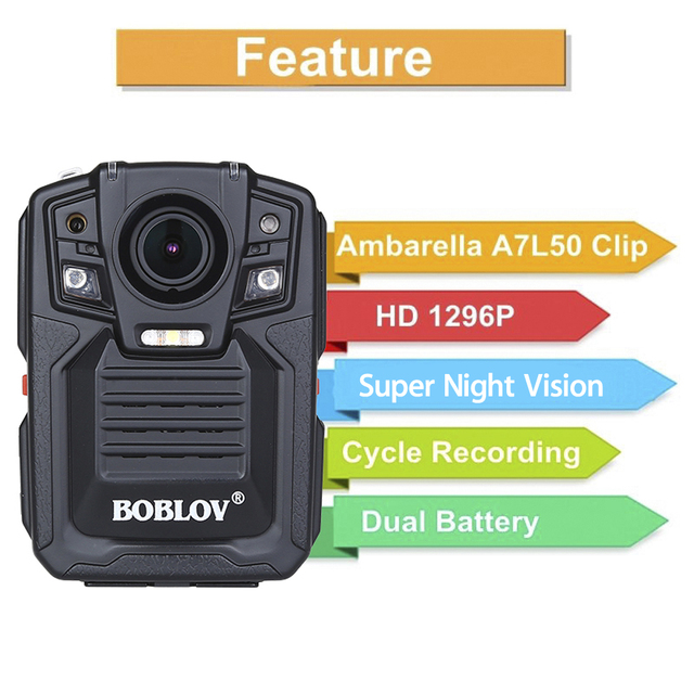 BOBLOV HD 1290P Police 33MP Security External IR Infrared Lens Body Worn Camera Night Vision Motion Detection Portable Personal 10