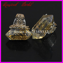 Nature Big Clear Quartz Finger Ring Gold Color Gems Drusy Quartz Ring Druzy Ring(China)