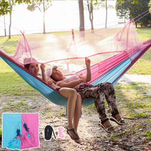 260x145cm Hammock mosquito net double with straps Outdoor Camping tent portable parachute hammock Garden swing chair(China)