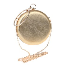 Mini Women Circular Bag  Shaped Evening Bags Diamonds Simple Red Blue Silver Black Gold Mixed Day Clutches Chain Shoulder Bags