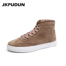 JKPUDUN High Top Casual Shoes Men Suede Leather Sneakers Men 2017 Fashion Ankle Boots For Men Luxury Brand Superstar Supercolors(China)