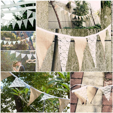 Party Wedding Festival Decoration Product  3.3 M Hot Vintage Chic Burlap Linen Lace Bunting Flags Pennant