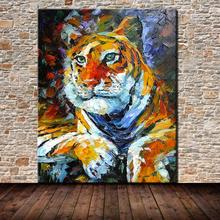 Animal Picture Hand Painted Modern Abstract Tiger Oil Painting On Canvas Wall Art For Living Room Home Decoration Gift No Frame