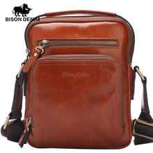 BISON DENIM Genuine Leather Ipad Bag top-handle Men Bags Shoulder Crossbody Bags Messenger Vintage Casual Handbags W2333