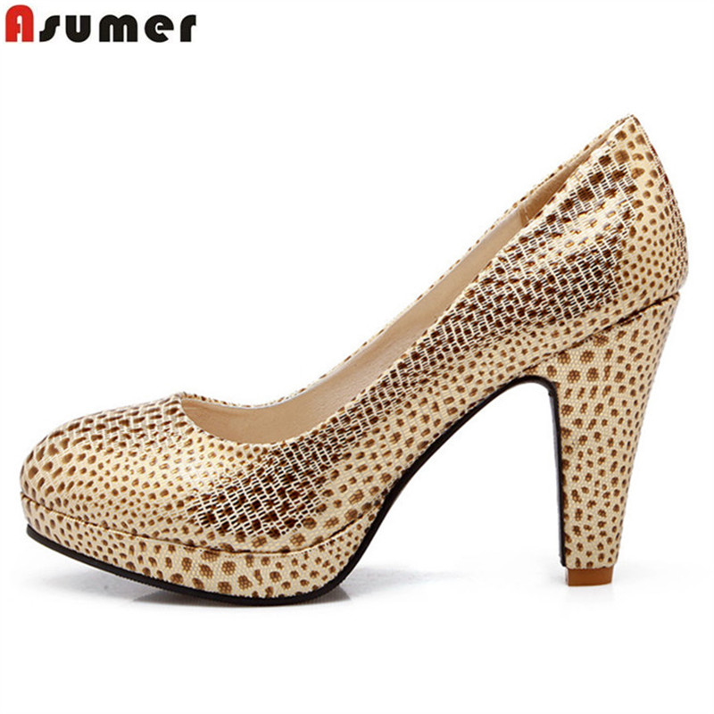 Asumer large size 32-43 women pumps fashion round toe high quality simple slip on thick high heels popular for spring shoes<br>