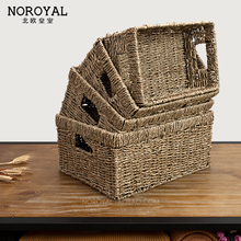 Nordic handmade rattan straw storage box large rectangular table coffee table TV cabinet drawer storage baskets storage box(China)