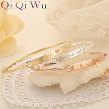Drop Shipping Gold Bangle Bar Bracelets Custom Engraved Name Bracelet Personalized Initials Bangles for Women Jewelry Girls Gift(China)