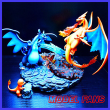 MODEL FANS IN-STOCK 38cm height Charizard VS mega evolution Charizard gk resin statue figure for collection