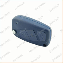 Blue 3 Buttons Car Flip Key For Fiat Remote Key Cover Replacements Fob With Logo Battery place on Side