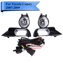 Car Front Clear Lens Fog Light Housing with H11 Bulbs Grille Frame / Wiring / Switch For Toyota Camry XLE LE SE 2007-2009 #PD556(China)
