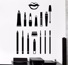 Cosmetics Makeup Artist Vinyl Wall Stickers New Arrivals Wall Decal Visagiste Beauty Salon Sticker High Quality Mural  SA473