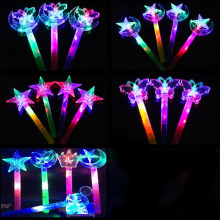 Crystal Girl Children Star Butterfly Moon Light Up Luminous Shiny Bling Led Magic Stick Birthday Gifts Interact Play Game Toys(China)