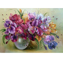 Round crystal Cross Stitch picture Diamond Embroidery flower and vase home decor Diamond painting moasic floral picture pastes