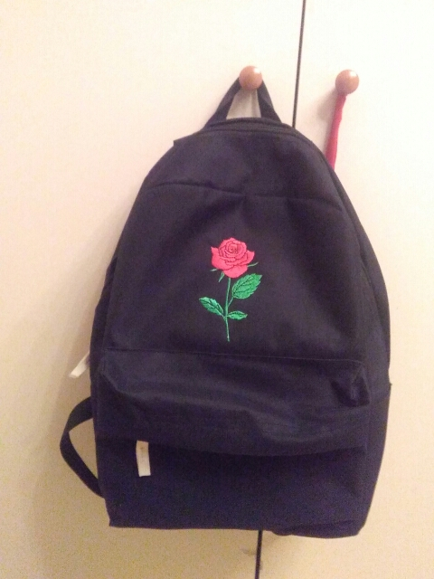 rose canvas backpack women bag men  (2)