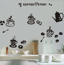 "Waterproof ""Coffee Story"" Vinyl Wall Sticker Creative Art Wall Decals for Coffee Shop / Home Kitchen Decor Free Shipping"
