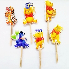 24pcs Cartoon Winnie the Pooh Tiger Bear Donkey balls Cupcake Toppers Picks Kids Birthday Party Wedding Decoration cake Supplies