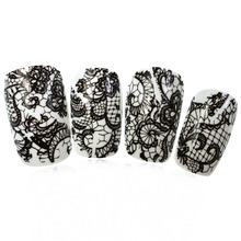 1pcs Black Lace Flowers Pattern Nail Art Transfer Foil Stickers High Quality  Wrap Polish Care DIY Decorations SALB03