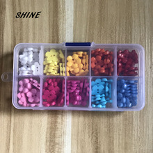 SHINE Brand Wholesale 10 color mixed with the box 15mm candy colors Resin children Sewing Button for child cloth DIY accessories(China)