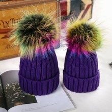 Men and women warm wool hat color ball wool cap winter curling knitted hat(China)