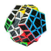 New Megaminx Magic Cubes Pentagon 12 Sides Gigaminx Black Carbon Fiber Sticker Dodecahedron Toy Puzzle Twist Educational Toy