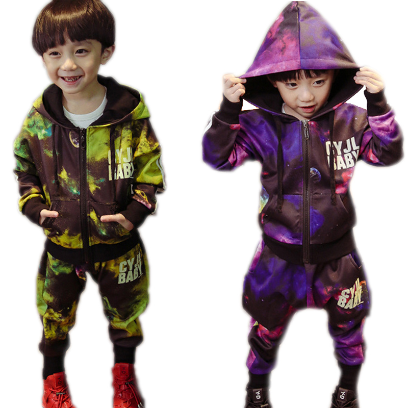 children clothing sets 2017 new spring starry sky printed children clothing sets top jackets + pants toddler boy clothes sets<br>