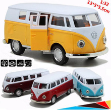 1:32 alloy pull back cars, high simulation classic vintage toy bus, sound and light back to power, free shipping