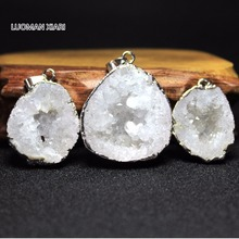 Wholesale Natural Druse Quartz Crystal Silvery Irregular Geode Stone Pendant  DIY Necklaces Bracelet  For Jewelry Making Random