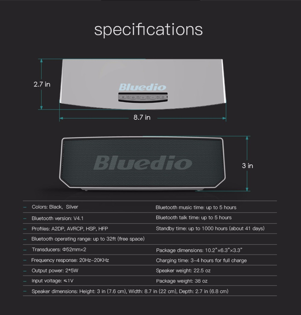 Bluedio BS-5 Mini Bluetooth speaker Portable Wireless speaker Sound System 3D stereo Music surround