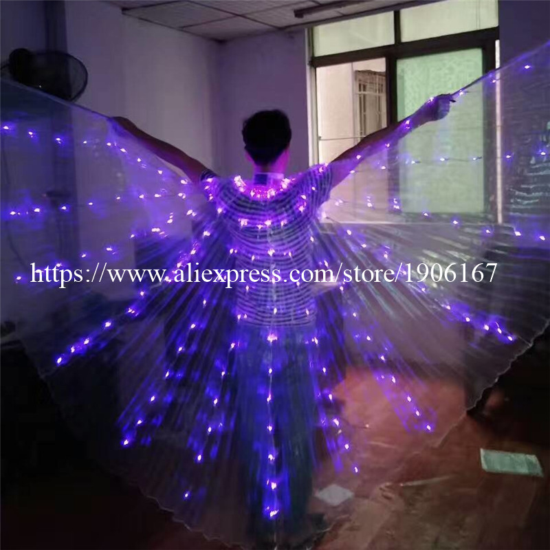 2017 Stafe Performance Prop Women Dancewear Girls DJ LED Wings Light Up Wings Belly Dance Wing Costume03