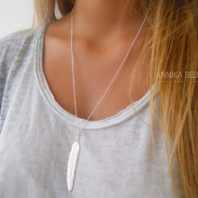 New Fashion womens vintage long necklace jewelry silver gold simple feather pendant necklaces collar Jewelry gifts Drop Shipping(China)