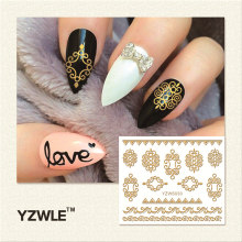 YZWLE 1 Sheet Hot Gold 3D Nail Art Stickers DIY Nail Decorations Decals Foils Wraps Manicure Styling Tools (YZW-6030)(China)