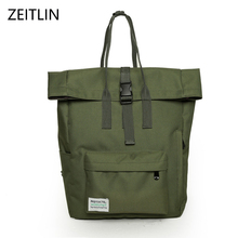 ZEITLIN Famous Brand Backpack Women Backpacks Solid Vintage Girls School Bags for Girls Black Canvas Women Backpack H966(China)