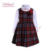 Pettigirl New England Style Girl Clothing Set Long Sleeve Blouse Grid Dress With Embroidery Collar Kids Daily Wear G-DMCS908-970