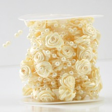 10M/Lot Fishing Line Artificial Pearls With Flower Beads Chain Garland Wedding Bouquet Flower Decoration Party Supplies