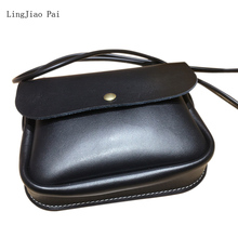 LingJiao Pai Mutiple Cow Genuine Leather  Women Travel Mini Neck Mobile Pack Bag With 120CM Rubber Lanyard