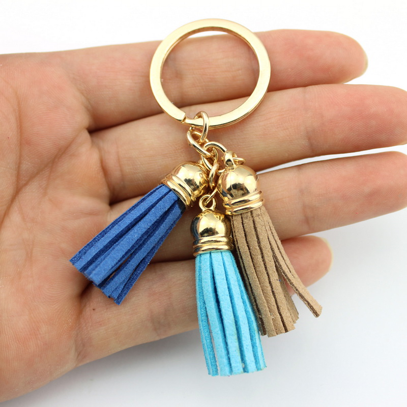 2016 New Fashion Women Casual Triple Leather Tassels Women Keychain Bag Pendant Alloy Car Key Chain Ring Holder Trendy Jewelry(China)