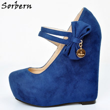 Sorbern Blue Ankle Strap Women Wedges Women Pumps Sapatos Mulher Salto Baixo Size 44 Ladies Shoes Platform Heels For Ladies(China)