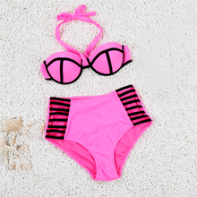 High Quality Women Ladies Modern Bikini 2016 High Waisted Bathing Suit Beach Padded Swimsuit Top Strappy Bra Swimwear